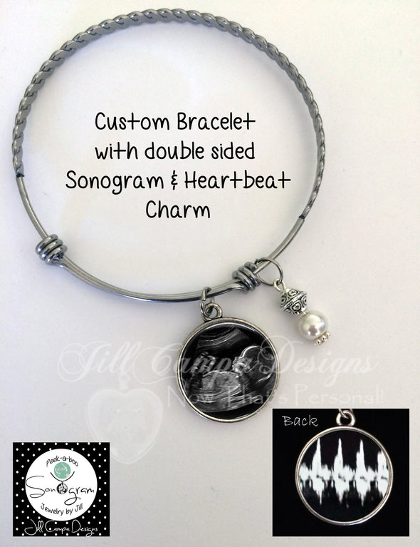 Baby Sonogram bracelet - sonogram and heartbeat - Jill Campa Designs - Now That's Personal!