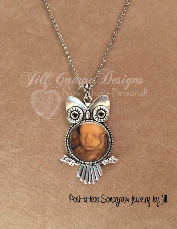 Baby SONOGRAM owl necklace - Jill Campa Designs - Now That's Personal!  - 1
