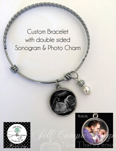 Baby Sonogram and photo bracelet - 2 photos - double sided charm - bracelet for new Mommy - Jill Campa Designs - Now That's Personal!  - 1
