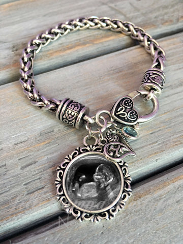 Baby Sonogram charm bracelet - bracelet for new Mommy, Mommy-to-be