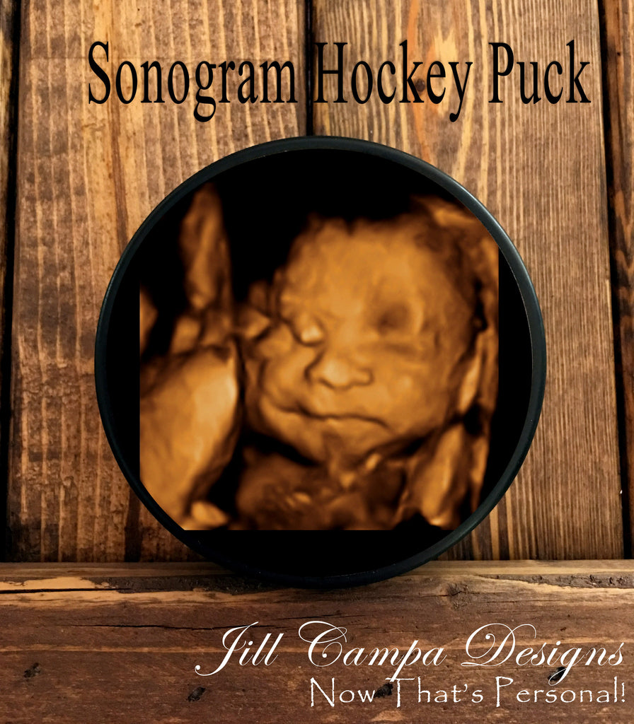 Sonogram Hockey Puck - your baby's photo on a hockey puck - Jill Campa Designs - Now That's Personal!  - 1