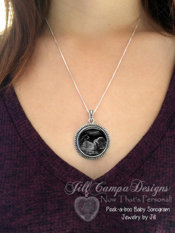 Sonogram Necklace, Ultrasound Pendant - Pregnancy Gift , New Baby - Jill Campa Designs - Now That's Personal!  - 2