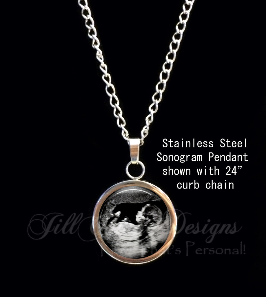 SONOGRAM Necklace, Stainless Steel curb chain necklace, Your baby's sonogram on a necklace - Ultrasound Pendant - Jill Campa Designs - Now That's Personal!