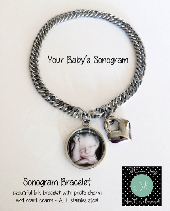 Sonogram Bracelet, Sonogram jewelry, sonogram charm bracelet, ultrasound jewelry, your baby's actual sonogram, pregnancy jewelry - Jill Campa Designs - Now That's Personal!