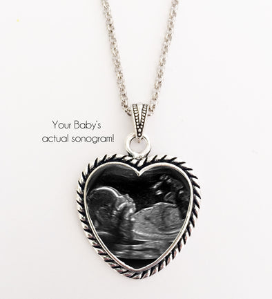 BABY SONOGRAM Necklace, rope heart design