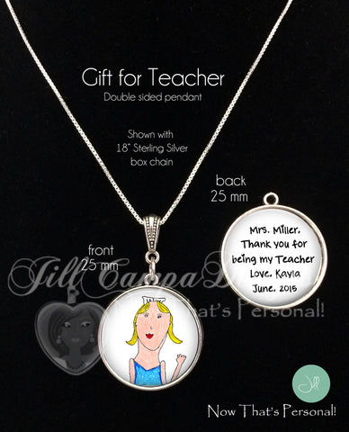TEACHER GIFT - Your Child's artwork and message on a necklace - 2 sided pendant - Child's Handwriting - gift for Teacher - personalized