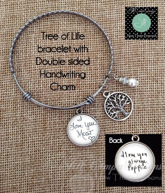 Handwriting bangle charm bracelet - loved one's handwriting - tree of life - Jill Campa Designs - Now That's Personal!