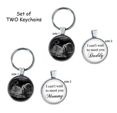 SET of TWO Sonogram Keychains - Can't wait to meet you Daddy, Mommy