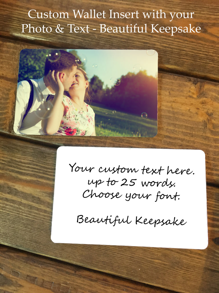personalized photo text wallet insert card now that s personal