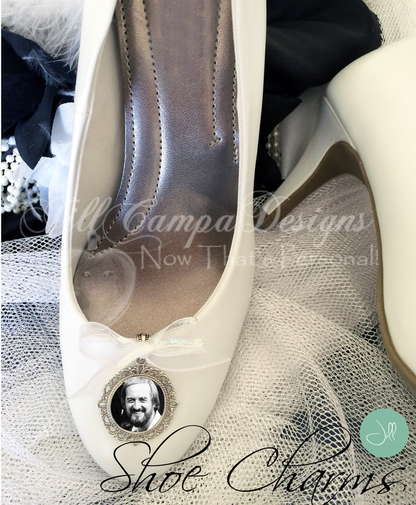 SET of 2 memorial photo wedding shoe charms - bridal bouquet charm - Jill Campa Designs - Now That's Personal!  - 1