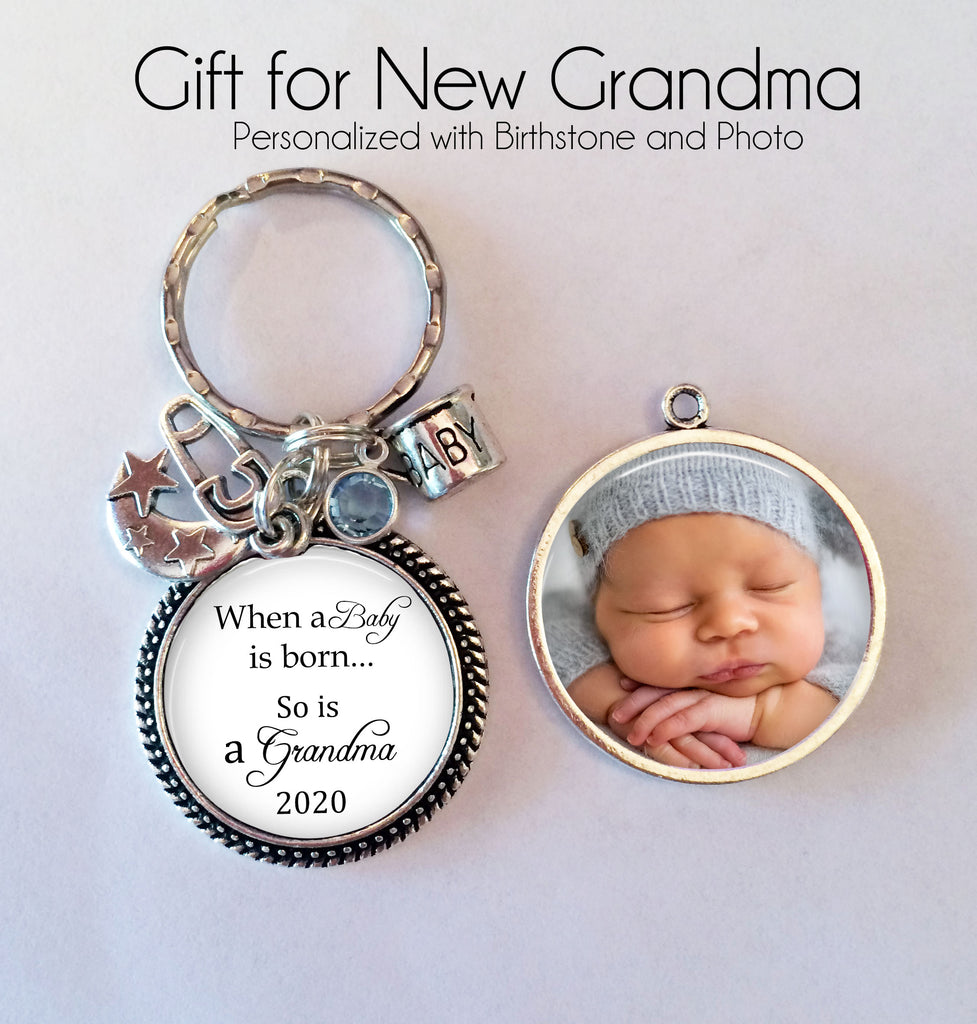 "New Grandma Keychain - double sided - ""When a baby is born so is a grandma"" - gift for new Grandma - baby photo key chain, birthstone - Jill Campa Designs - Now That's Personal!"