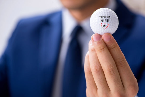 You're my hole in one - Gift for Golfing husband, boyfriend - set of 3 golf balls