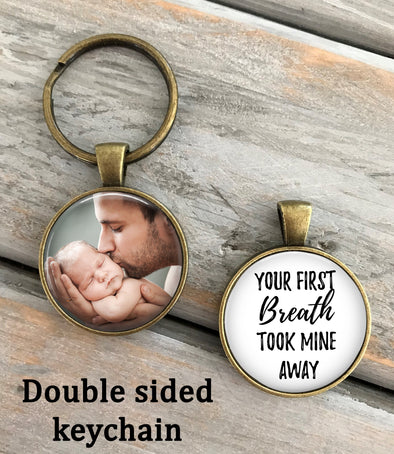 Gift for New Dad or Mom - photo key chain - Your first breath