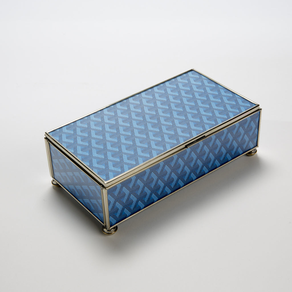 Goyard Inspired Storage Box in Blue — Medium