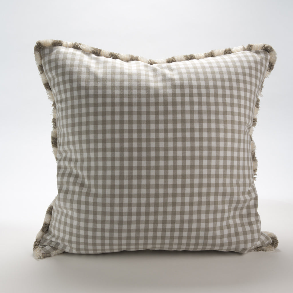 Grey Gingham Check Pillow