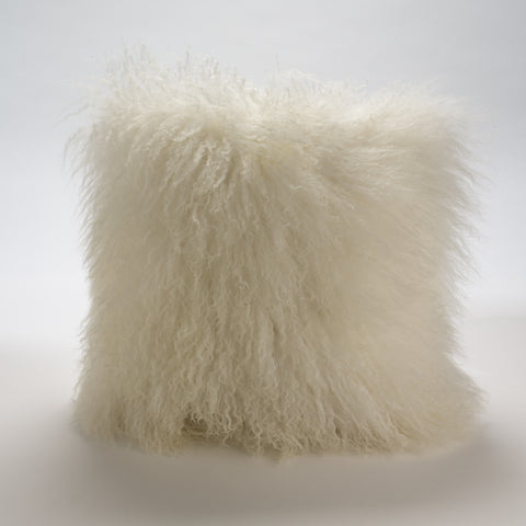 Mongolian Fur Pillow in Creamy White