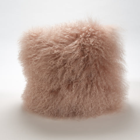 Mongolian Fur Pillow in Rose Pink