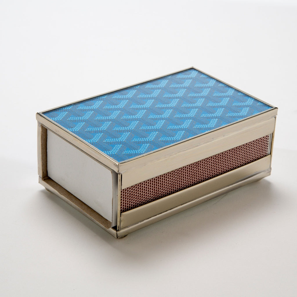 Goyard Inspired Match Box Cover in Blue