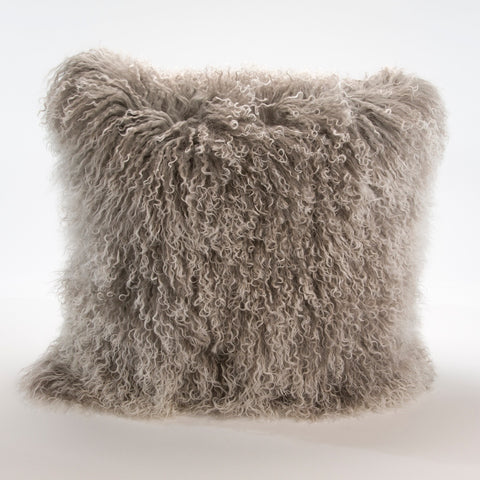 Mongolian Fur Pillow in Pearl Grey