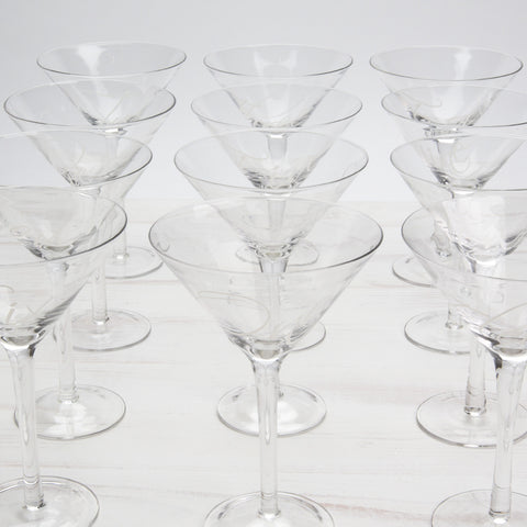 Numbered Martini Glasses — Set of 12