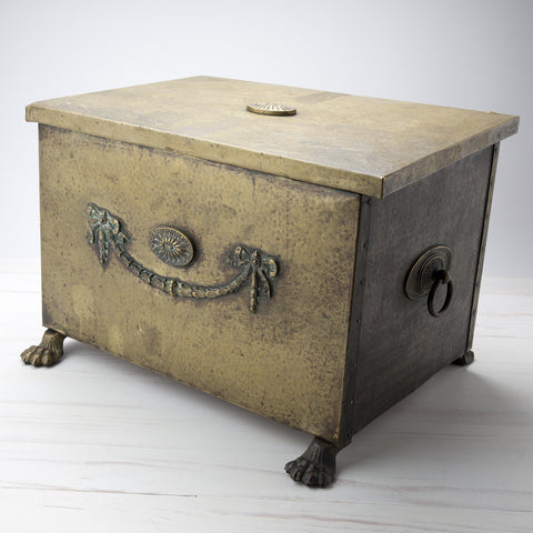 Vintage Hammered Brass Storage Box