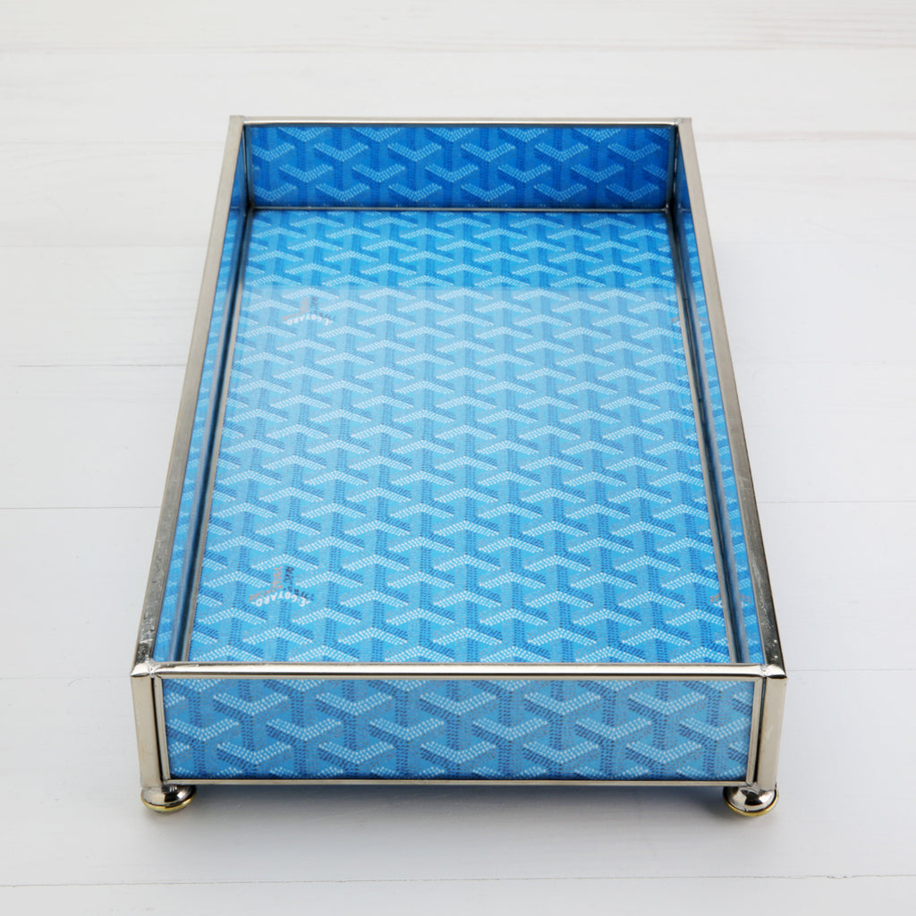 Goyard Inspired Tray in Cielo