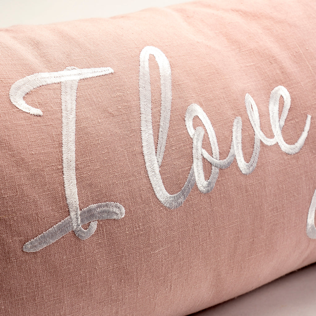 I Love You More Lumbar Pillow in Dusty Pink