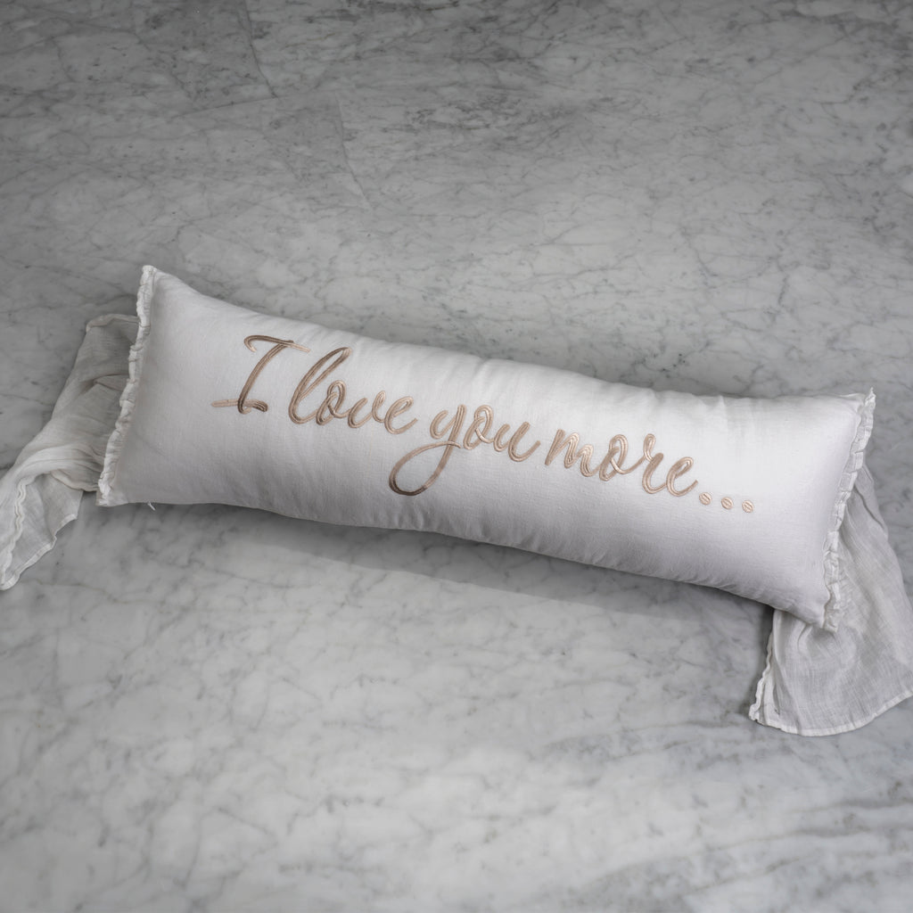 I Love You More Lumbar Pillow in White