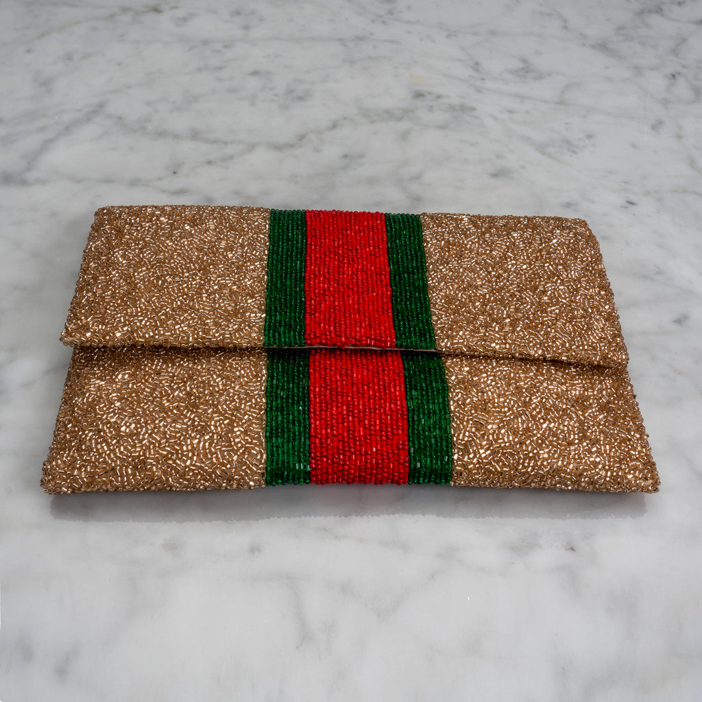 Beaded Evening Clutch in Designer Stripes