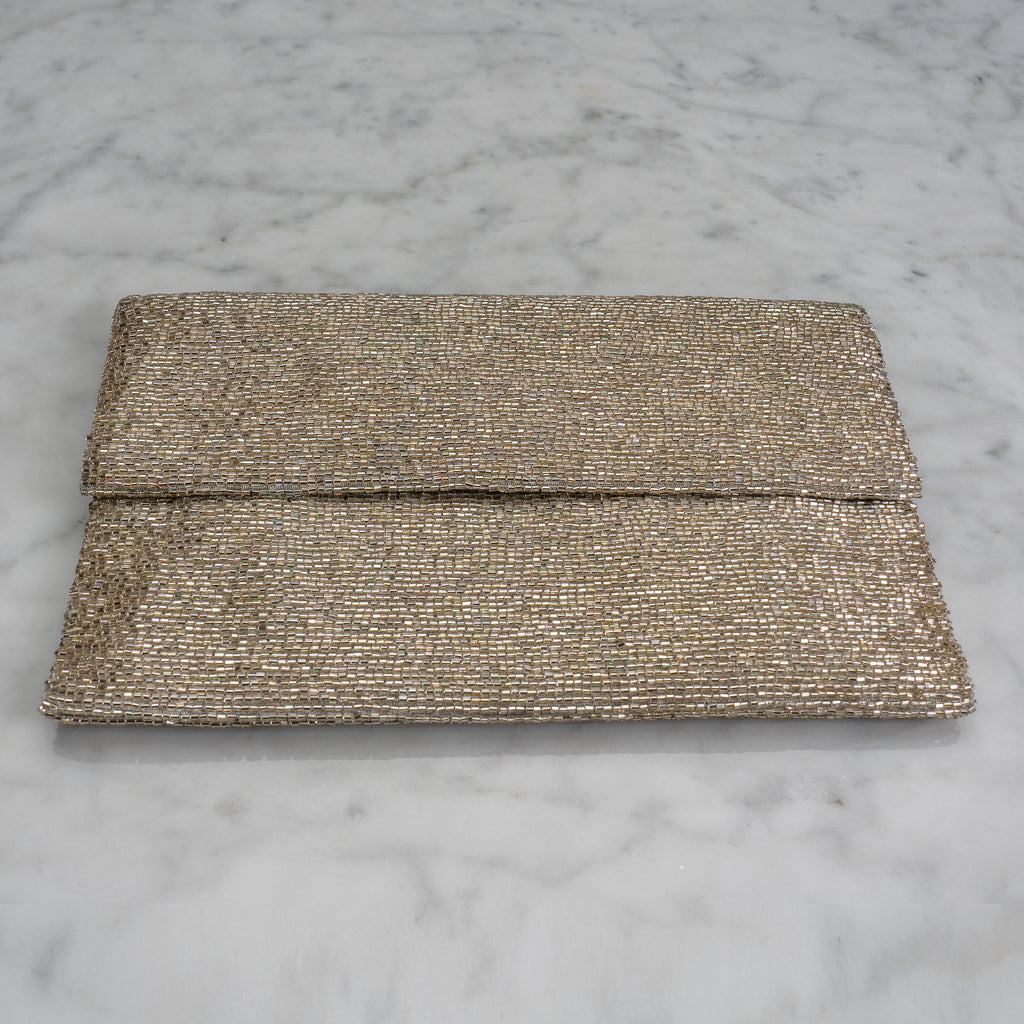 Beaded Evening Clutch in Champagne Silver