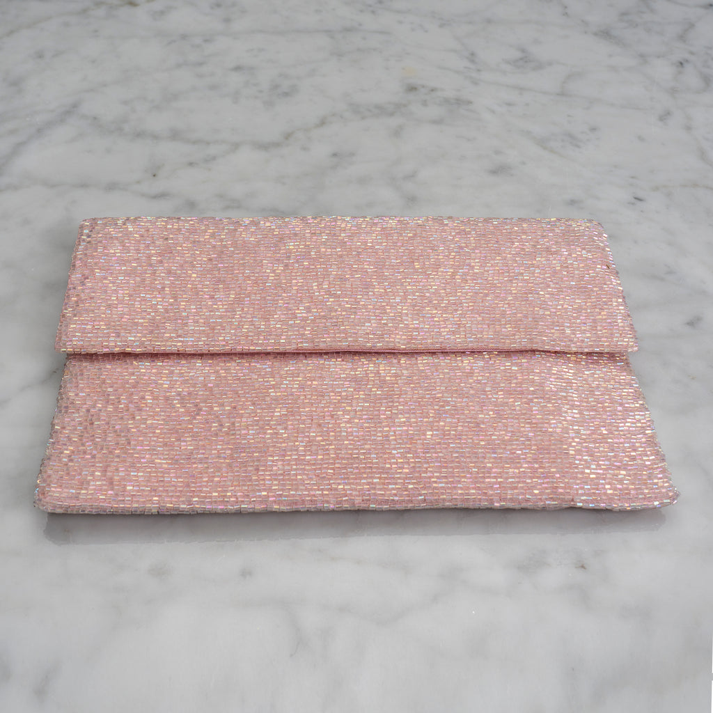 Beaded Evening Clutch in Pale Pink