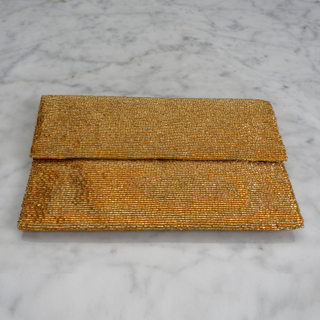 Beaded Evening Clutch in Gold