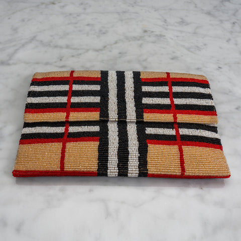 Beaded Evening Clutch in Designer Plaid