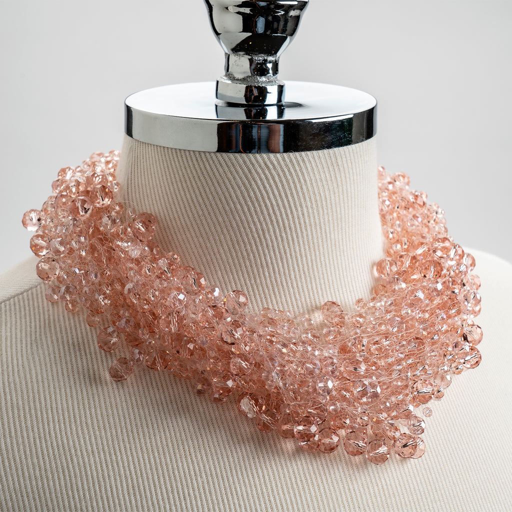 Crystal Cluster Necklace in Pink
