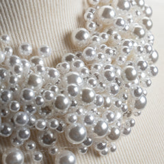 Pearl Cluster Necklace in Creamy White