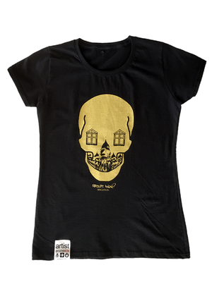 2012 Women's Gold Skull, T-Shirt - Artist Anon Brighton Clothing