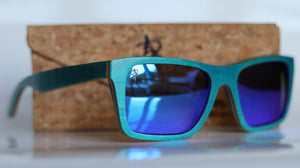 Blue Haze Woodie Sunglasses - Sunglasses - Bamboo - Artist Anon Brighton
