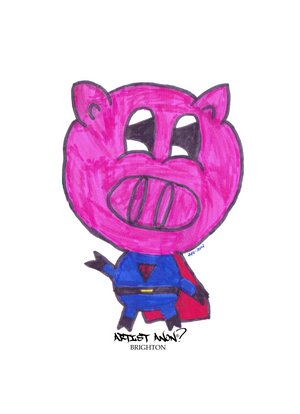 artist-anon,Super Pig Sticker,Stickers