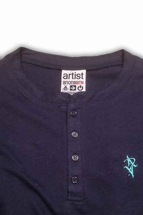 Artist Anon Embroidered Henley Tee, T-Shirt - Artist Anon Brighton Clothing