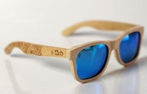 Plainly Blue Bamboo Sunglasses - Sunglasses - Bamboo - Artist Anon Brighton