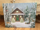 "Thomas Kinkade Canvas- ""Christmas Cabin"""