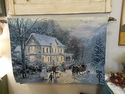 "Thomas Kinkade Christmas Tapestry- ""Home For the Holidays"""