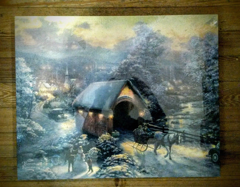 Winter Evening Memories- Thomas Kindade LED Canvas