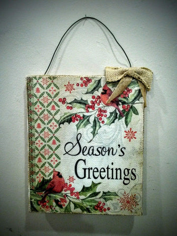 Season's Greetings Christmas Canvas