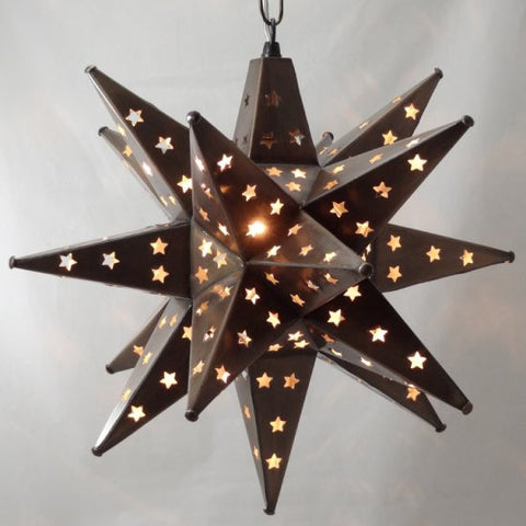 Star Pierced Tin Star Light, Bronze, 16""