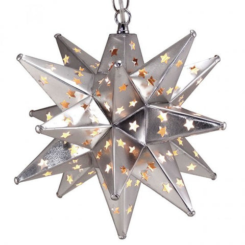 Star Pierced Tin Star Light, Silver, 12""