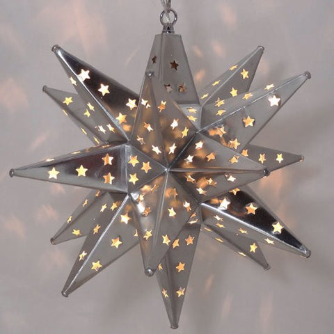 Star Pierced Tin Star Light, Silver, 16""