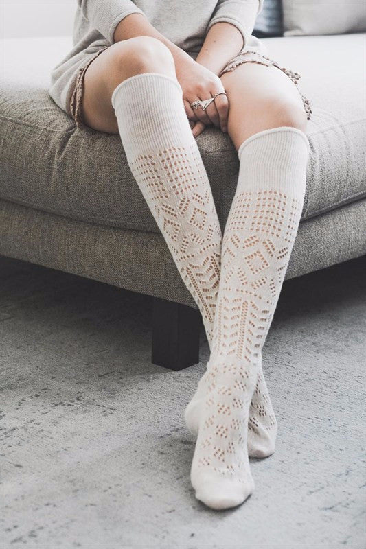 Ivory Thigh High Chevron Boot Socks