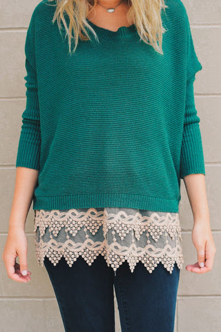 Almond Pointed Lace Top Extender