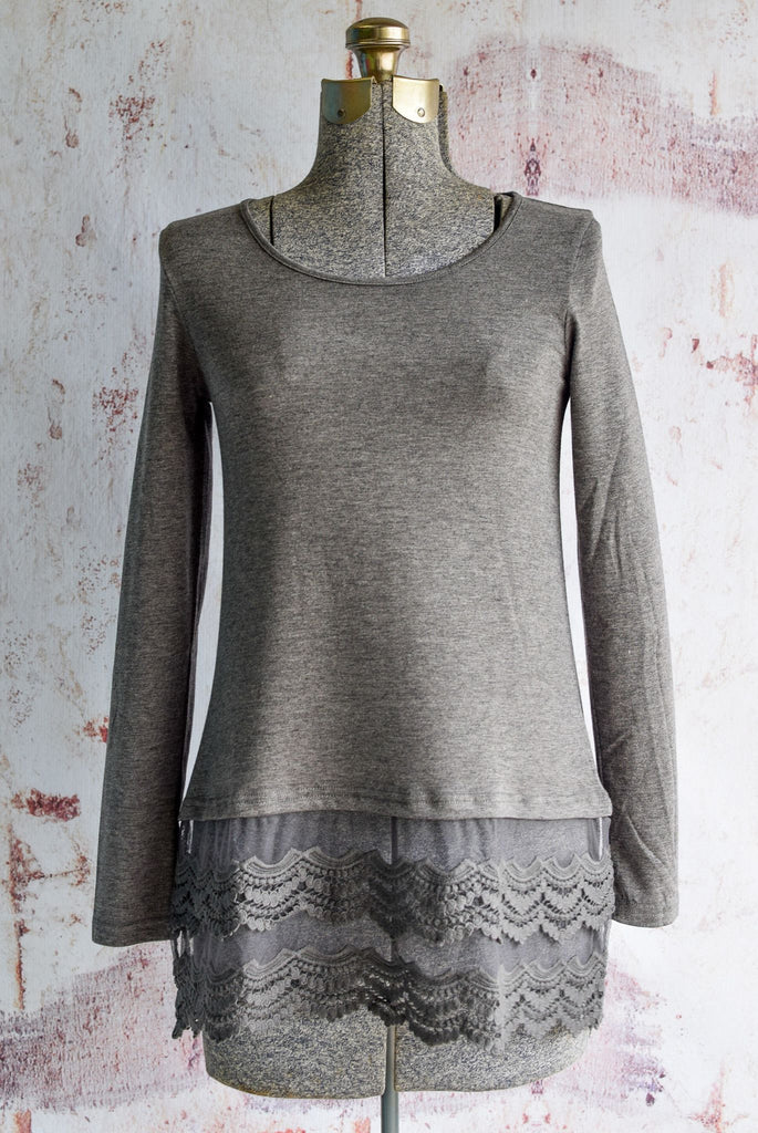 Charcoal Long Sleeve Lace Top Extender